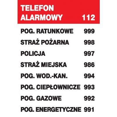 ZNAK INFORMACYJNY TELEFONY ALARMOWE ZI-21